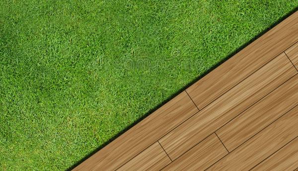 Césped artificial con tarima de madera sintética